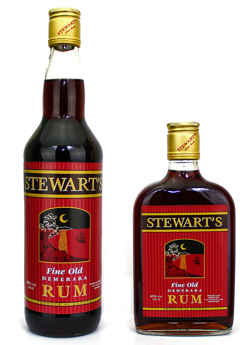 Stewart's Rum large and small bottle